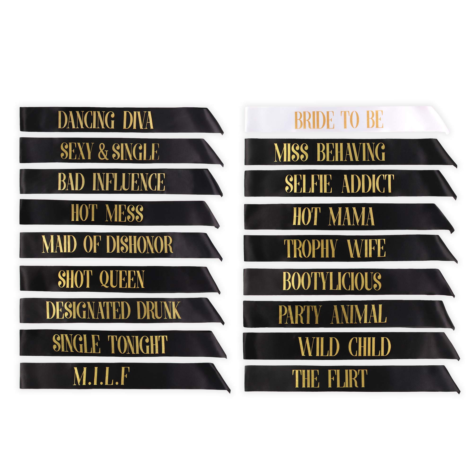 Bachelorette Party Sashes- Bride to Be Sash and Bride Tribe Sashes (Black, 18 Pack)