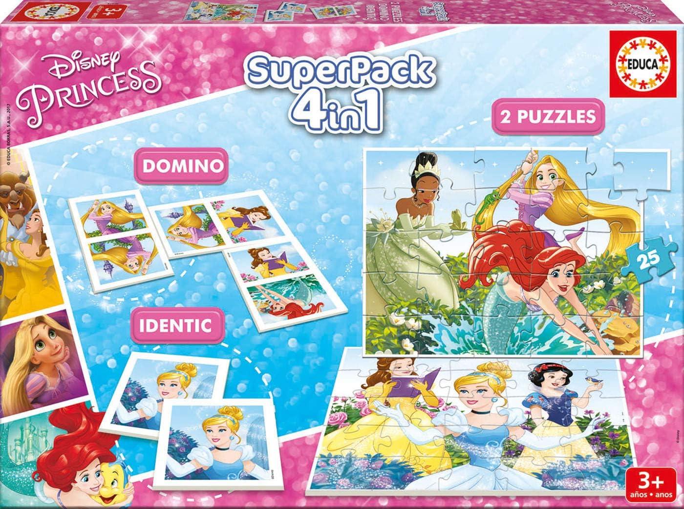 Educa - Superpack juegos Princesas Disney, contiene 2 puzzles, 1 ...