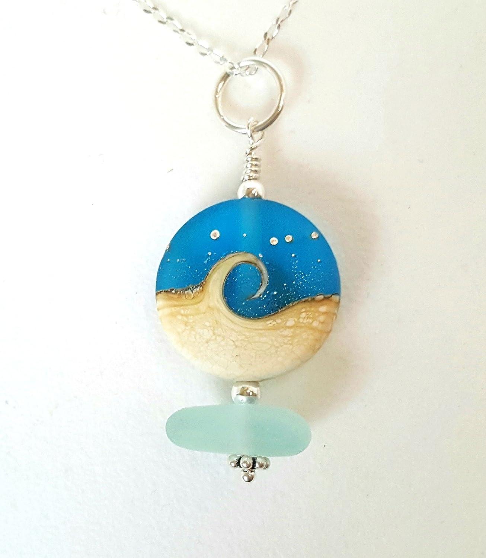 Amazon.com: Aqua Sea Glass And Wave Bead Necklace: Handmade