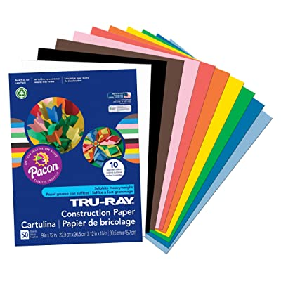 """Pacon Tru-Ray Construction Paper, 9"""" x 12"""", Assorted, Model:PAC103031 : Office Products"""