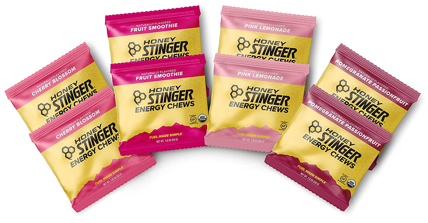 Honey Stinger Organic Energy Chews - Variety Pack – 8 Count - 2 of Each Flavor - Chewy Gummy Energy Source for Any Activity - Pink Lemonade, Fruit Smoothie, Pomegranate Passionfruit & Cherry Blossom