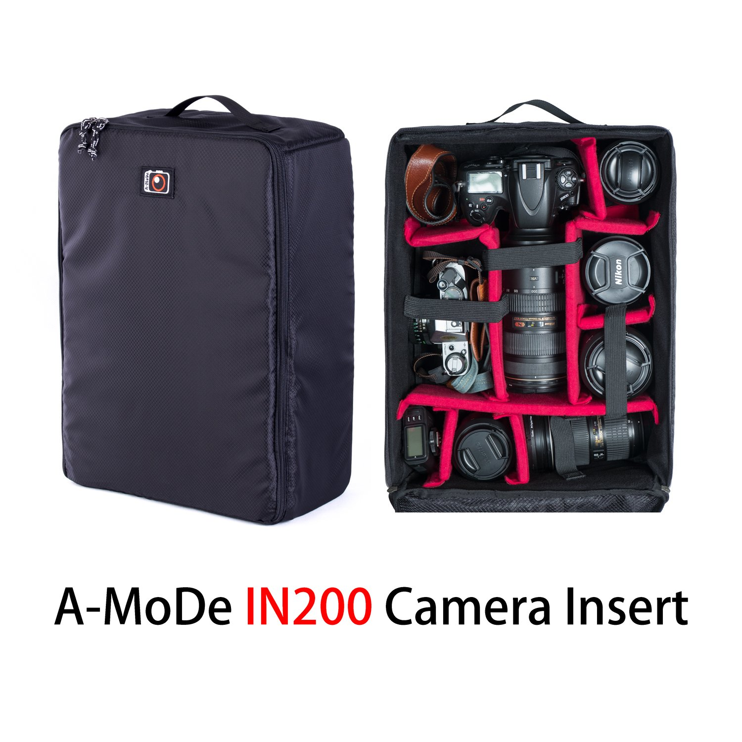 A-Mode DSLR Large Capacity Camera Luggage Insert Waterproof Shockproof Partition Padded Mirrorless Camera, Lens, Flash, Battery and Other Accessoriesbag case for 1D D5 Black A-MoDe Ltd. IN0200-BL