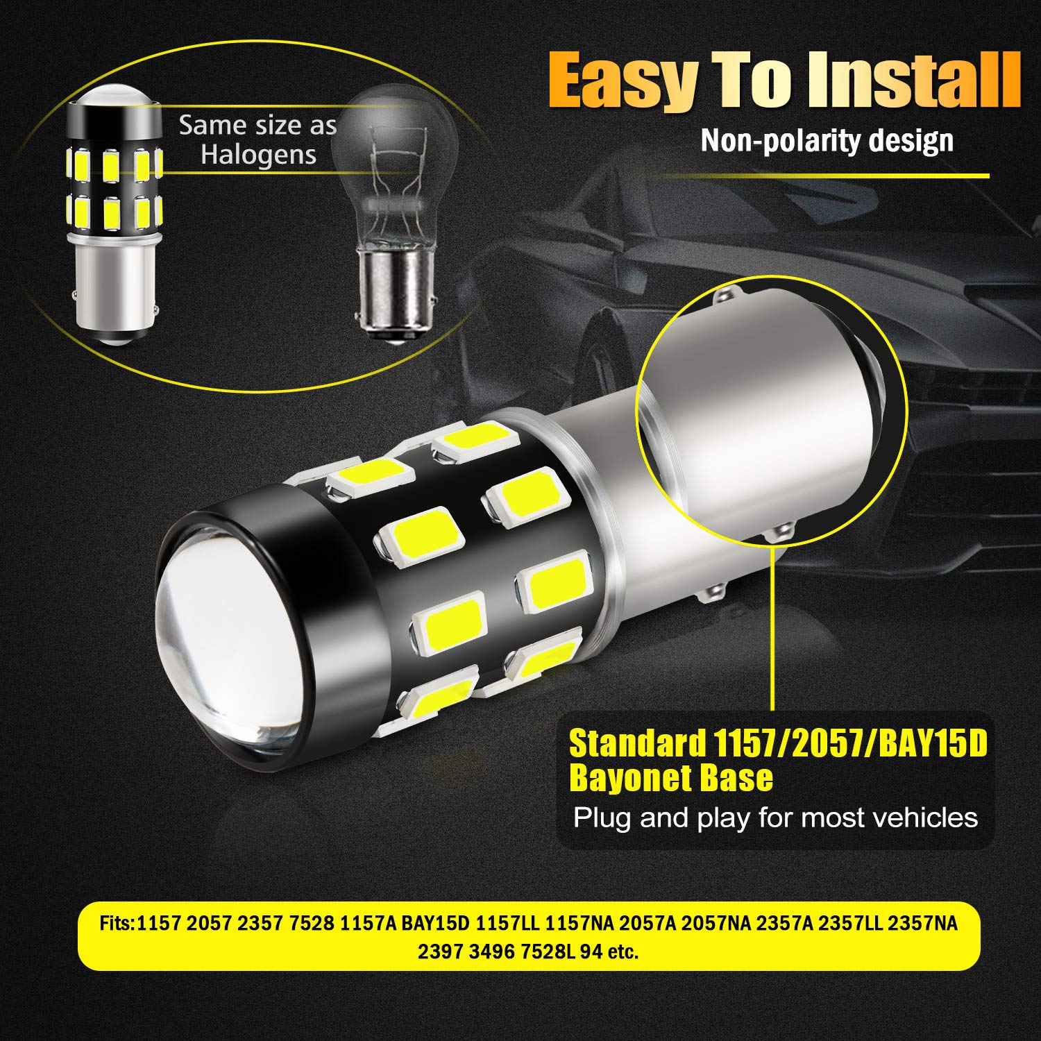 1156 LED Bulbs Pack of 2 LIGHSTA 1200 Lumens Super Bright 5630 Chipsets 1073 1003 1141 7506 BA15S LED Bulbs with Projector for Backup Reverse Lights Tail Brake DRL Parking Lights Xenon White