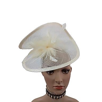 ABPF Sinamay Heart Fascinator Headband Hats Floppy Feather Wedding Derby  Racing Fascinator Hat 872b208689b