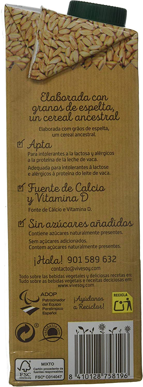 Vivesoy - Bebida de Espelta - Paquete de 6 x 1 l - Total: 6 l ...