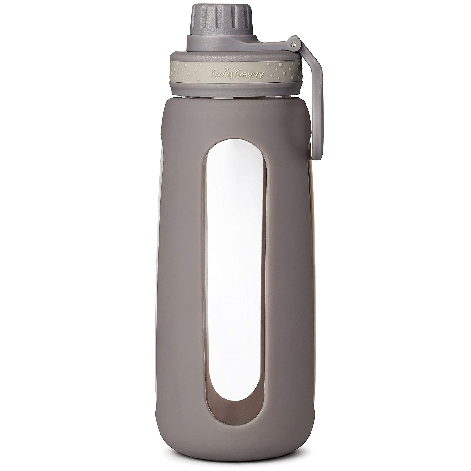 SWIG SAVVY Glass Water Bottles with Protective Silicone Sleeve /& Stainless Steel Leak Proof Lid BPA /& Plastic Free Stylish Design Wide Mouth Reusable Drinking Container