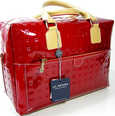 83913554206 Arcadia Satchel Purse Bag Tote Genuine Italian Patent Leather Red Natural