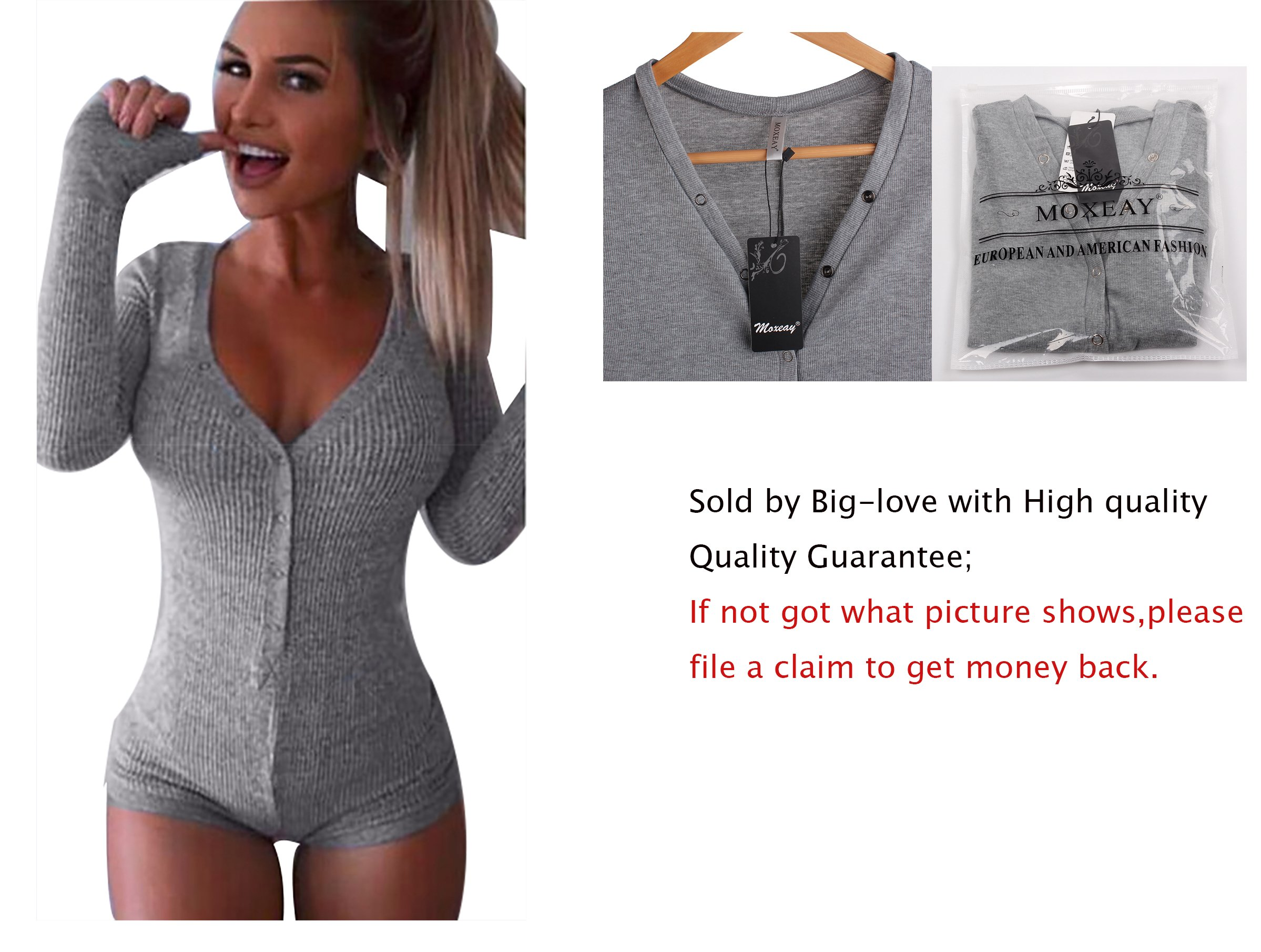 Moxeay V-Neck One Piece Bodysuit Long Sleeve Bodycon Rompers Small Gray