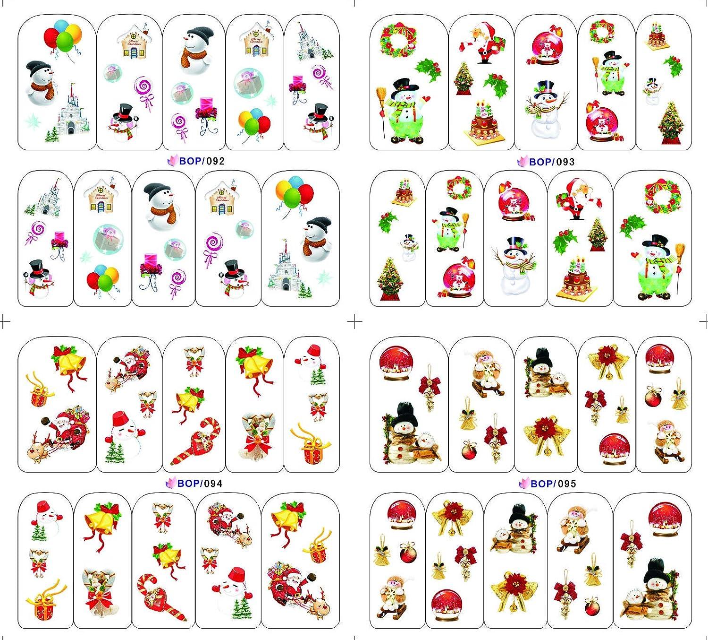 KADS 4Pcs Autoadesivi di arte del chiodo di Natale di stabilito Autoadesivi dell'acqua per le unghie Trasferimento dell'acqua Decalcomania Bellezza per le ragazze Donne e decorazione dei bambini Strumenti del chiodo (Set di Natale 1) KADS Co. Ltd