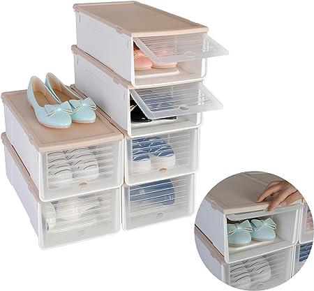 Set de 6 Empilable Boîte de chaussures de chaussures Boîtes boîte rangement chaussures chaussures Boîte à chaussures Boîtes avec couvercle multi But