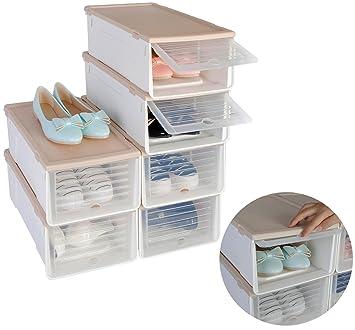 d4e9b089b89fb Set de 6 Empilable Boîte de chaussures de chaussures Boîtes boîte rangement  chaussures chaussures Boîte à ...