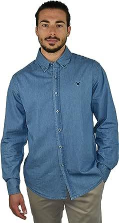 1st American Camisa de Mezclilla Hombre - Camisa Jeans de Manga Larga 100% Algodon Stone Wash - en Dos Colores, Azul y Azul Oscuro