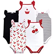 Hudson Baby Baby Sleeveless Bodysuits, Cherries 5-Pack, 0-3 Months (3M)