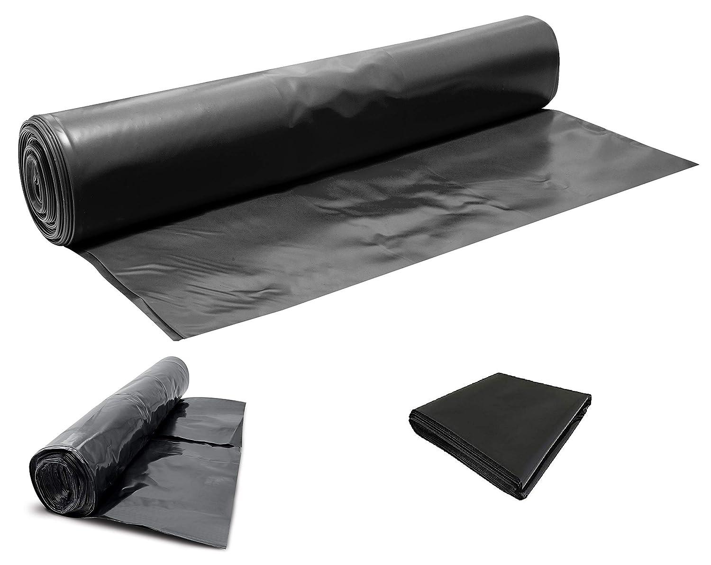 Heavy Duty Black Polythene Sheet - DPM/DPC 300 mu - 1200 Gauge - Select Size (Polythene, 12M X 4M)