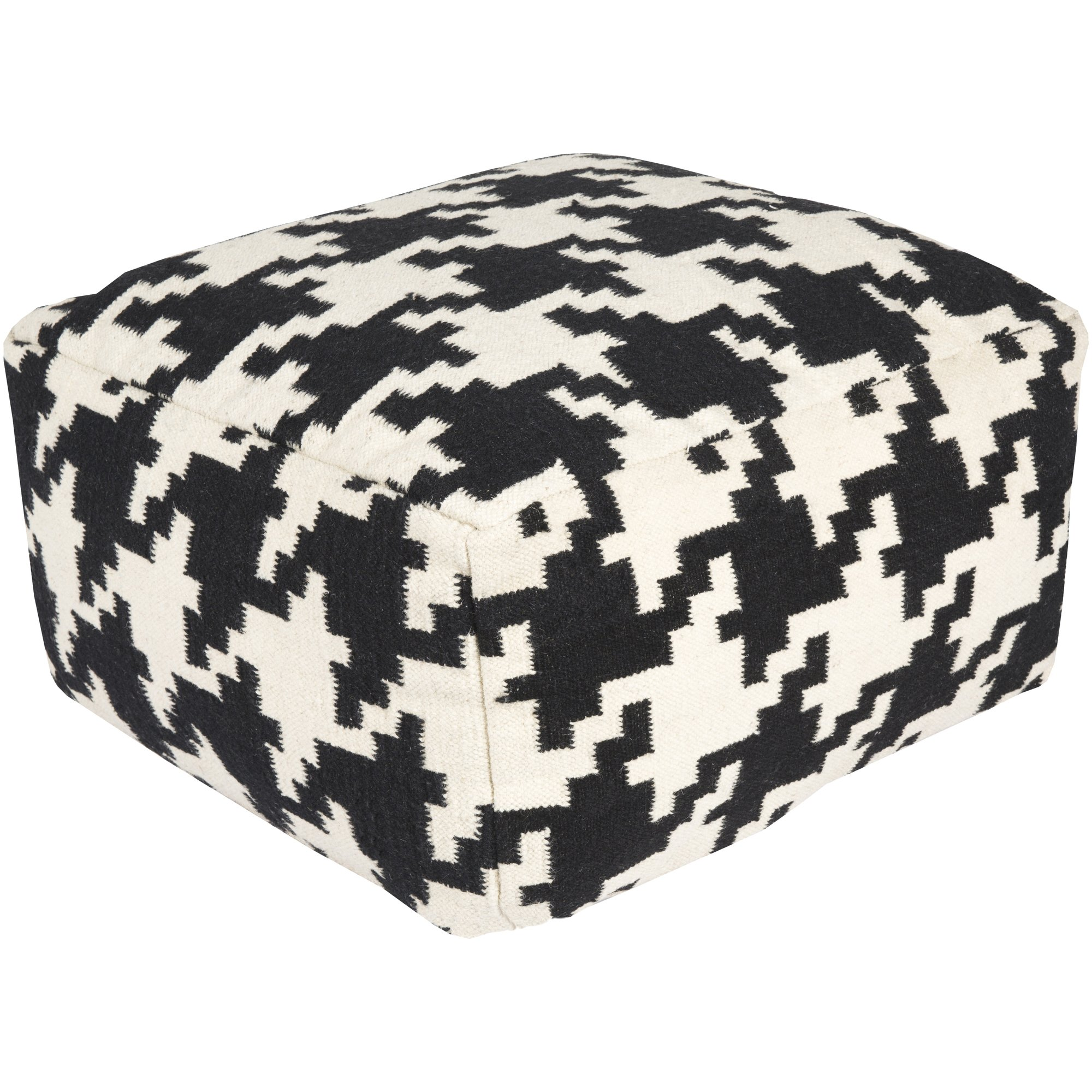 Surya POUF173-242413 100-Percent Wool Pouf, 24-Inch by 24-Inch by 13-Inch, Black/Ivory by Surya (Image #1)