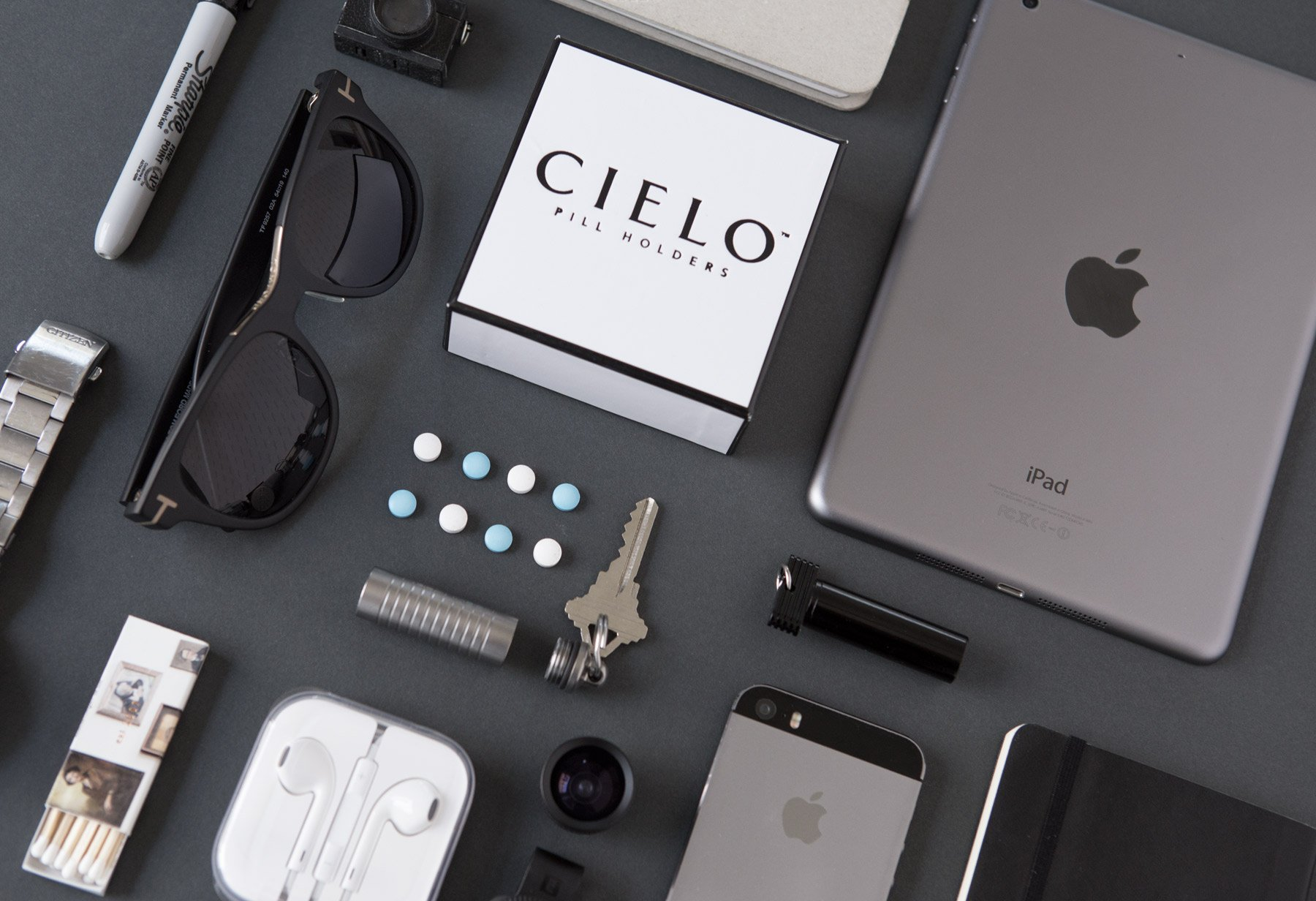 CIELO - Slim, Stainless Steel Single Chamber Keychain Pill Holder / Container for Men & Women ~ Holds Aspirin, Ibuprofen, Advil & Other Medication ~Waterproof & Ideal Pill Fob for Travel ~ 2.3'' x .5""