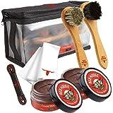 Full Leather Shoe Polish Kit – 2x Brush, Buffing Cloth, Travel Case, Laces - Red Moose