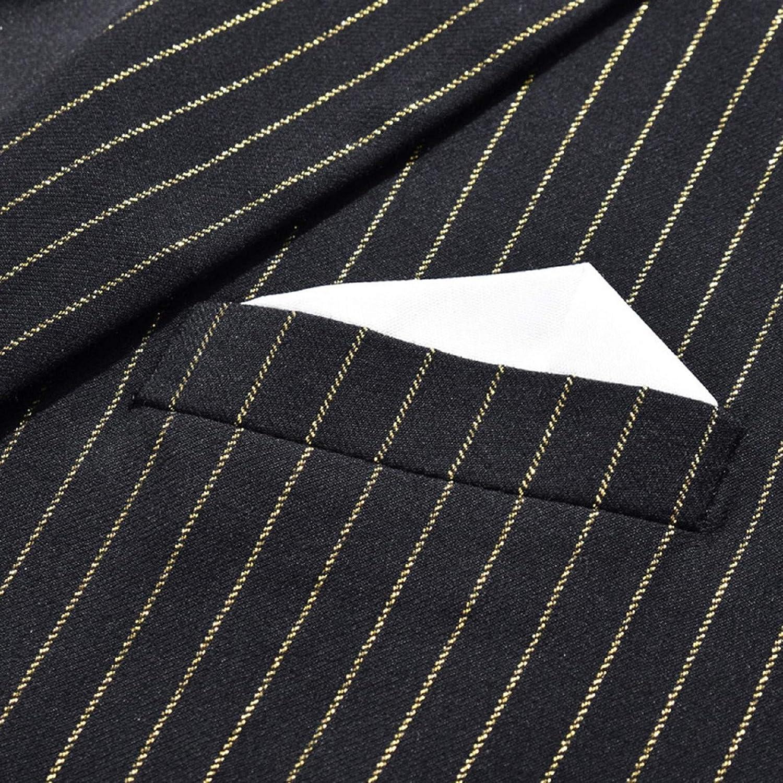 Fubotevic Mens Slim One Button Color Block 3-Piece Blazer Vest Pants Wedding Party Suit