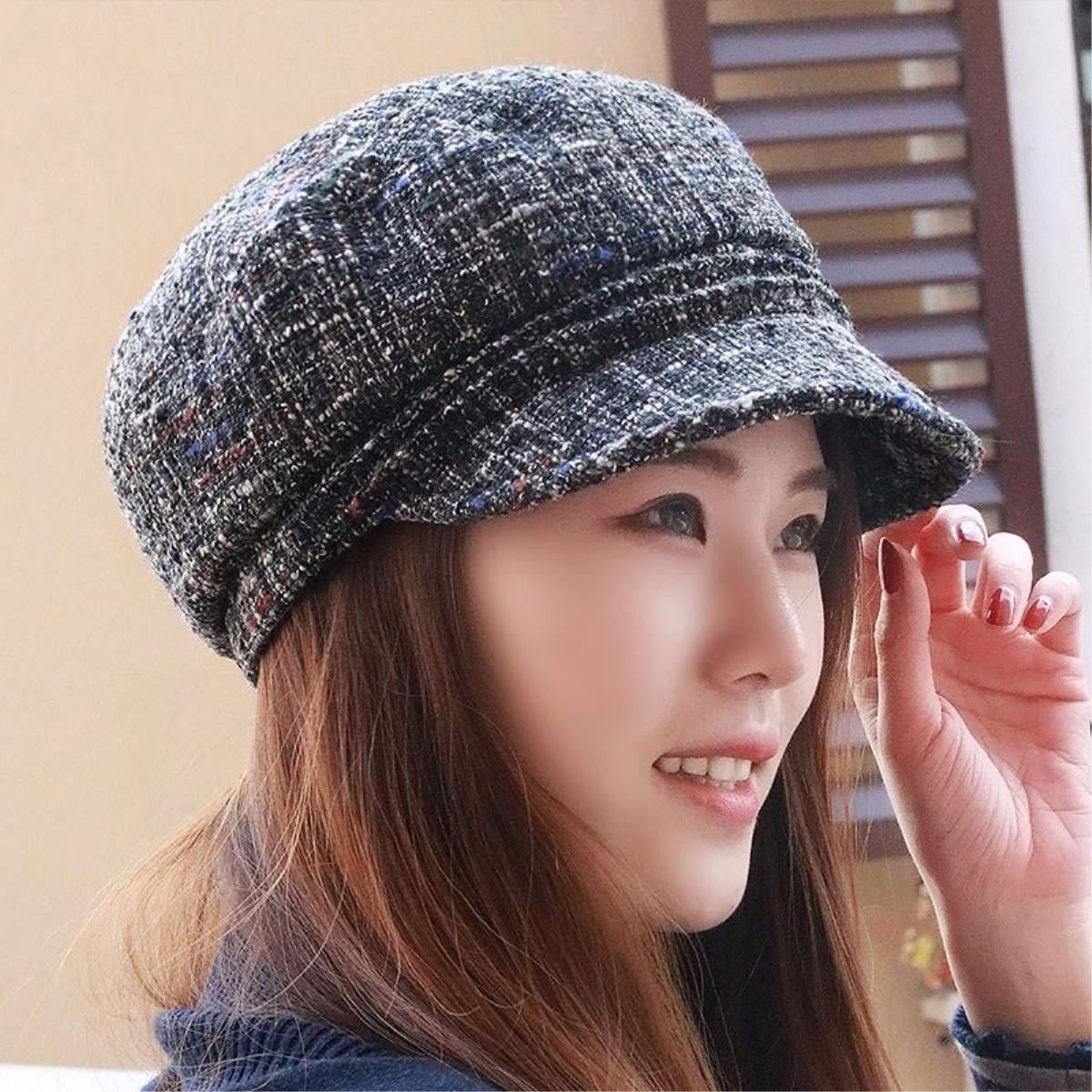 LONFENN Ladies Women Hats Textured Beret Cap Fashion Cap In The Fall Of Yuan Shu Flat Top Gray/A