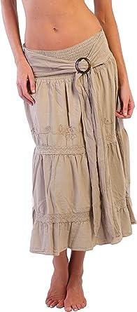 Algodón Natural de Bohemia falda larga bordado étnico Gypsy Hippie ...