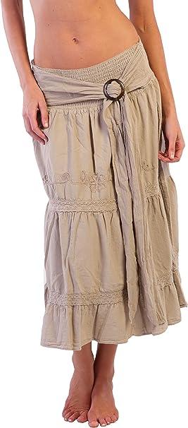 Algodón Natural de Bohemia falda larga bordado étnico Gypsy ...