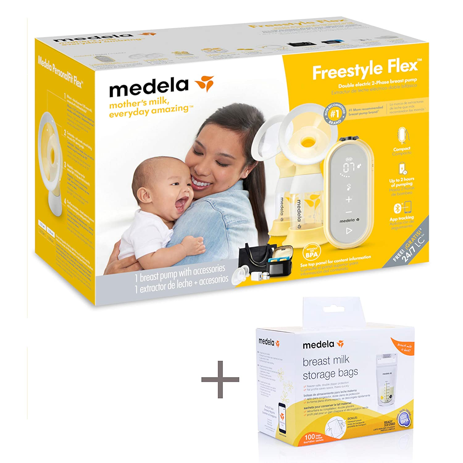 Closed System Quiet Handheld Portable Double Electric Breastpump Medela Freestyle Flex Breast Pump with Bonus 100 Breast Milk Storage Bags Mobile Connected Smart Pump with Touch Screen LED Display