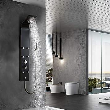 Elbe Columna l de ducha con grifo mezclador, 6 chorros de masaje ...