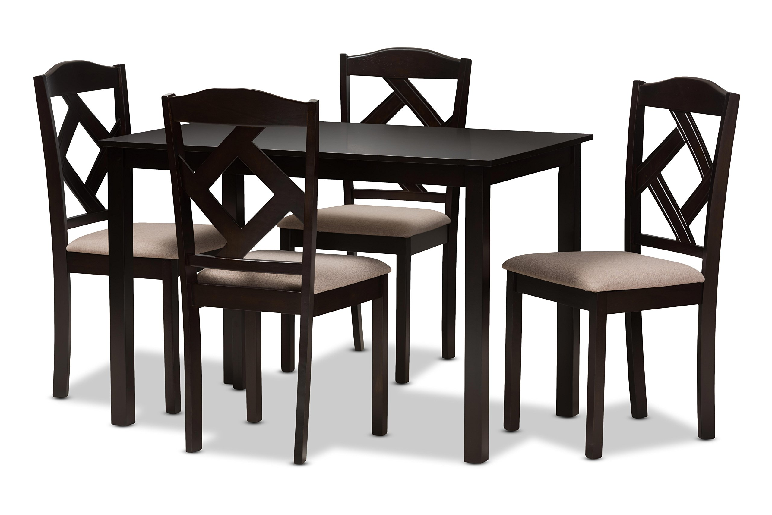 Baxton Studio Rosemary Modern and Contemporary Beige Fabric Upholstered and Dark Brown Finished 5-Piece Dining Set by Baxton Studio