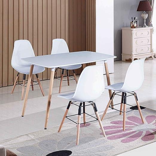 DecoInParis - Mesa de Comedor escandinava + 4 sillas, Color Blanco ...