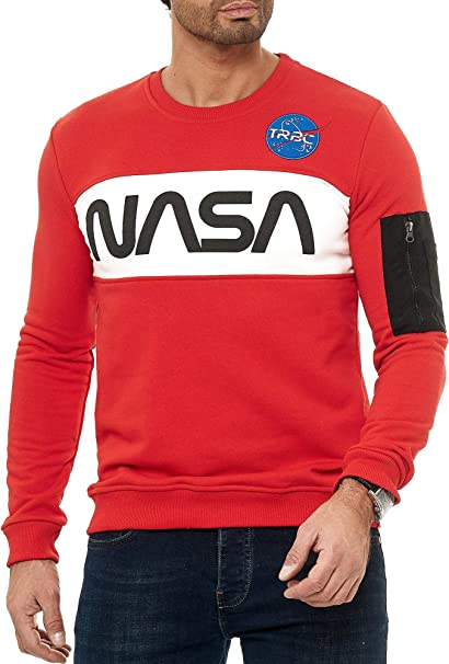 Red Bridge Felpa Premium da Uomo alla Moda con Logo NASA sul Davanti White