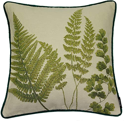 McAlister Textiles Mixed Fern Filled Pillow Green Leaf Flower Pattern Woven Tapestry with Velvet Piping Home Decor Throw Cushion for Bed Sofa Couch Sham Accessory – 16 x 16 Inches