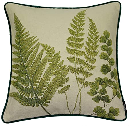 McAlister Textiles Mixed Fern Filled Pillow Green Leaf Novelty Tapestry with Velvet Piping Reverse Decorative Scatter Throw Cushion Sham Size – 16 x 16 Inches
