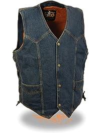 Biker's Edge Men's Side Lace Basic Denim Vest (Blue, XX-Large)