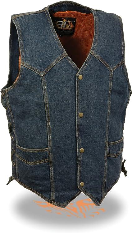 Men/'s Blue Denim Plain Side Biker Vest w// Classic Snap Front Design Motorcycle