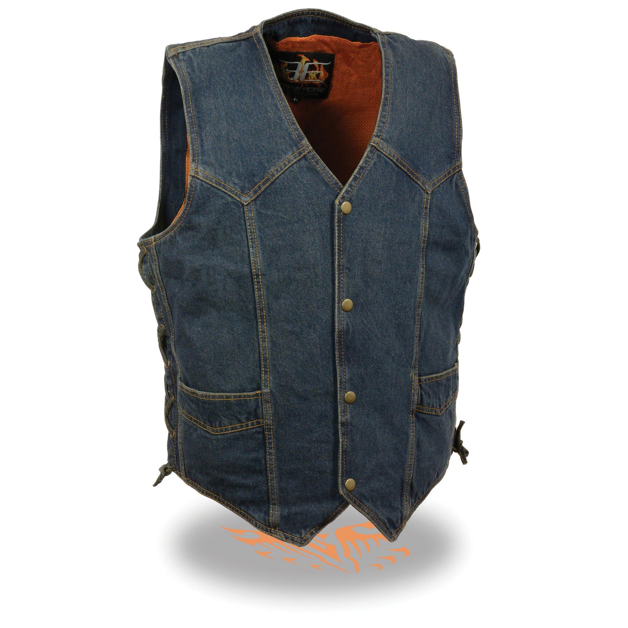 Milwaukee Performance Side Lace Basic Denim Vest (Blue, 5X-Large) by Milwaukee Performance