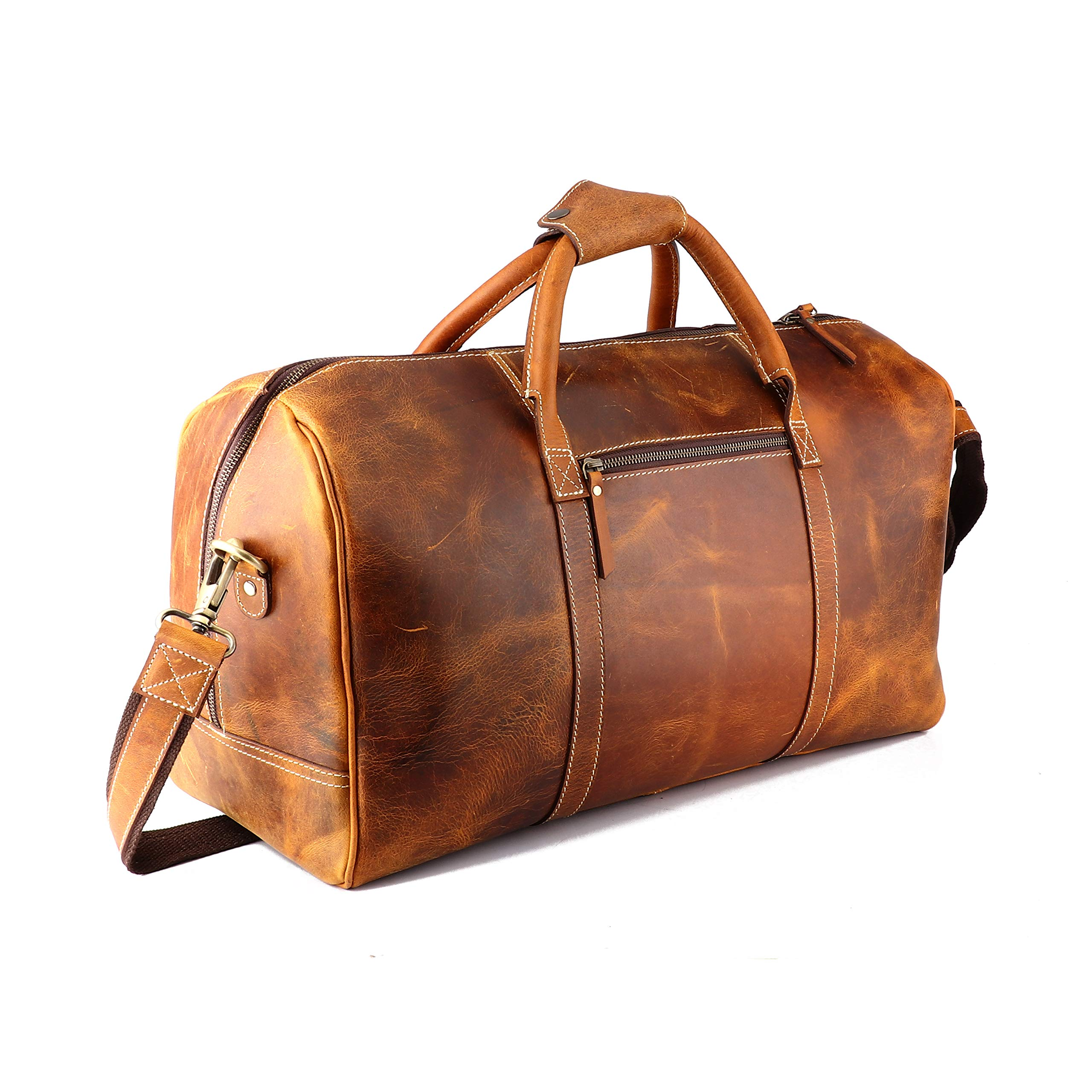 Leather Castle Genuine Vintage Men's Duffel Sports Gym, Travel, Carry-on Luggage Bag, Cinnamon Brown