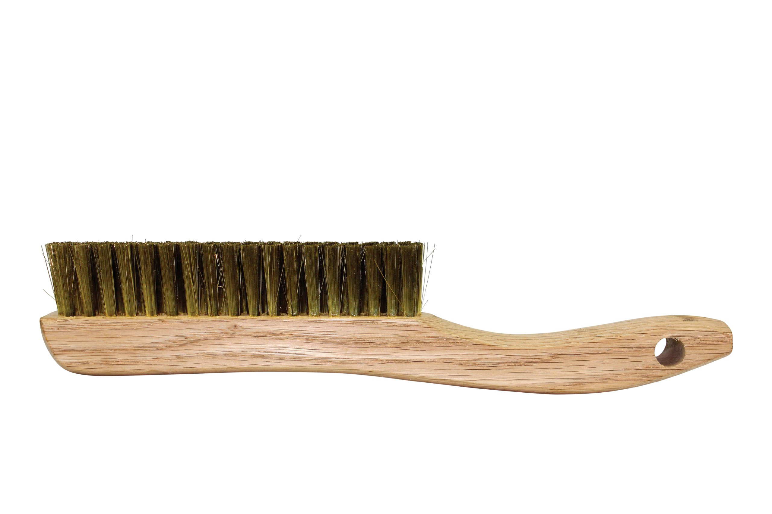 Osborn 54036 Plater's Fine Solid Wood Block Wire Scratch Brush with Long Curved Handle, Fine Brass Wire Bristle, 5-3/4'' Length, 1-1/8'' Width Brush, 13-1/4'' Overall Length
