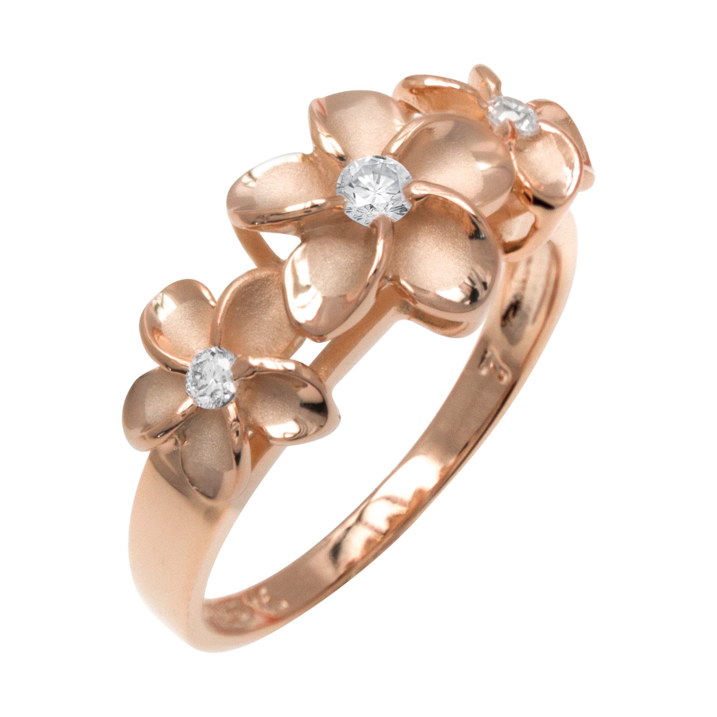 Honolulu Jewelry Company Three Plumeria CZ Ring with 14K Rose Gold Finish over Sterling Silver(8)