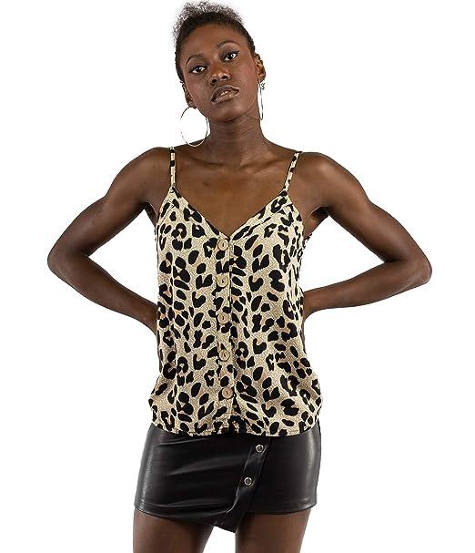 9eb82fb5626 Mer s Style - Top Camiseta Lencera Tirantes Estampado Leopardo Mujer ...