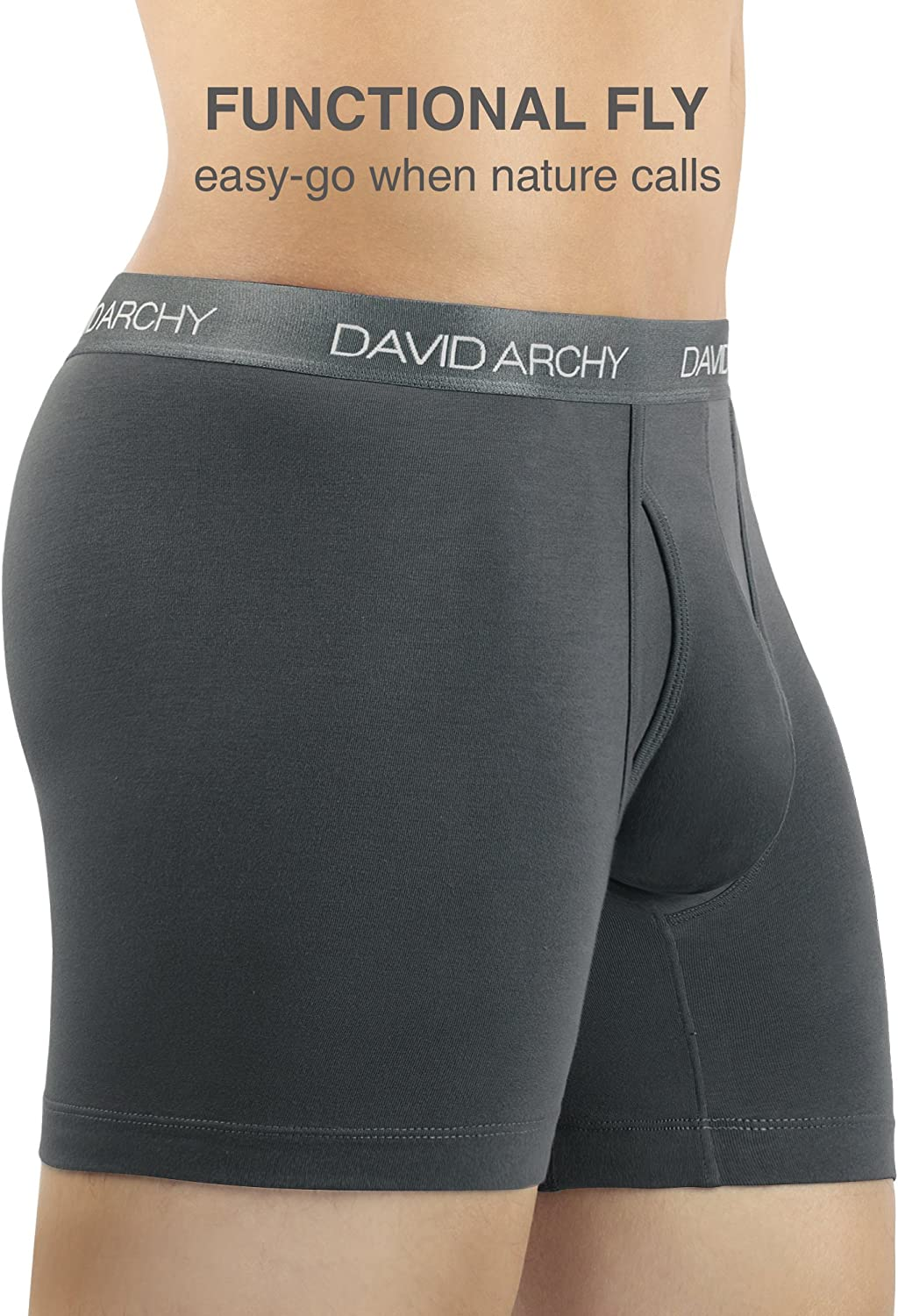 DAVID ARCHY Mens Soft Premium Cotton Boxer Briefs with Fly in 3//4 Pack