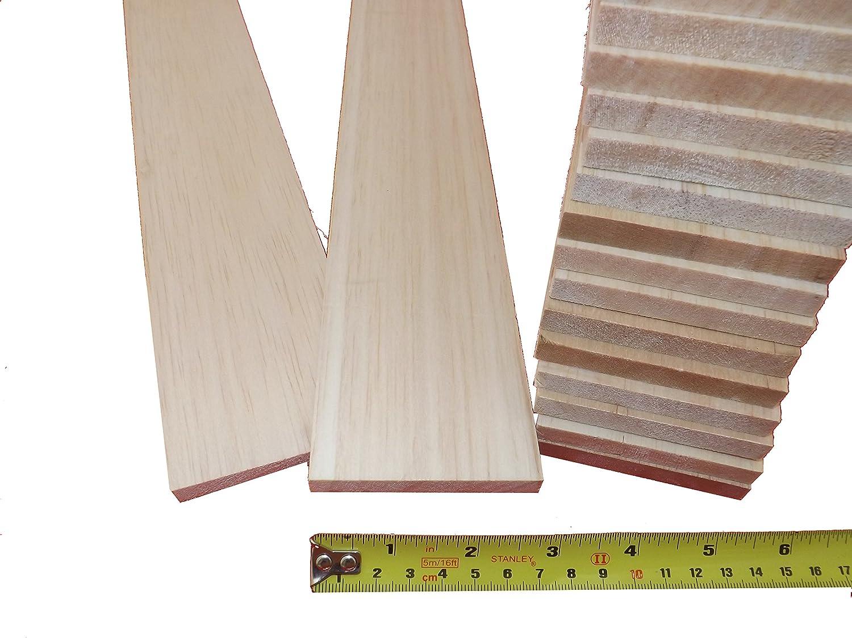 "10 PACK of 3.2mm BALSA WOOD SHEETS 450mm x 100mm x 3.2mm 18/"" x 4/""  x 1//8/"""