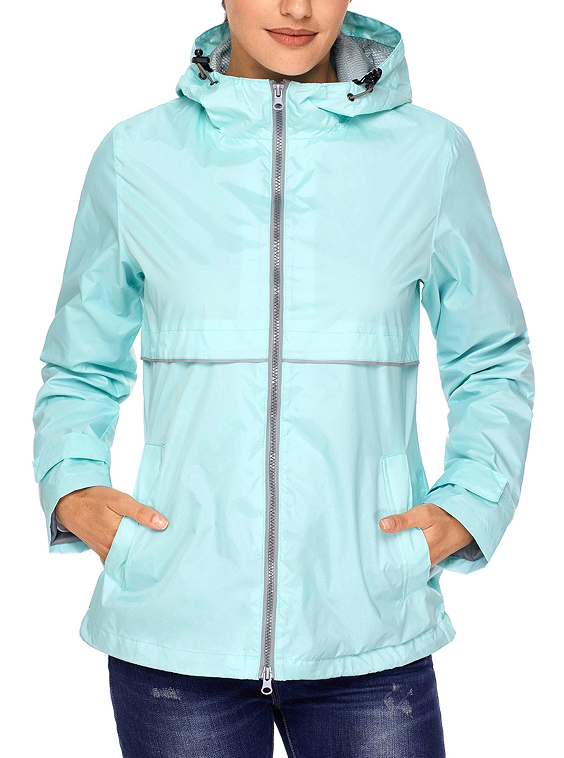 77c14e73bad SWISSWELL Womens  Waterproof Lightweight Raincoat Hooded Outdoor Hiking  Long Rain Jacket Light MintLarge