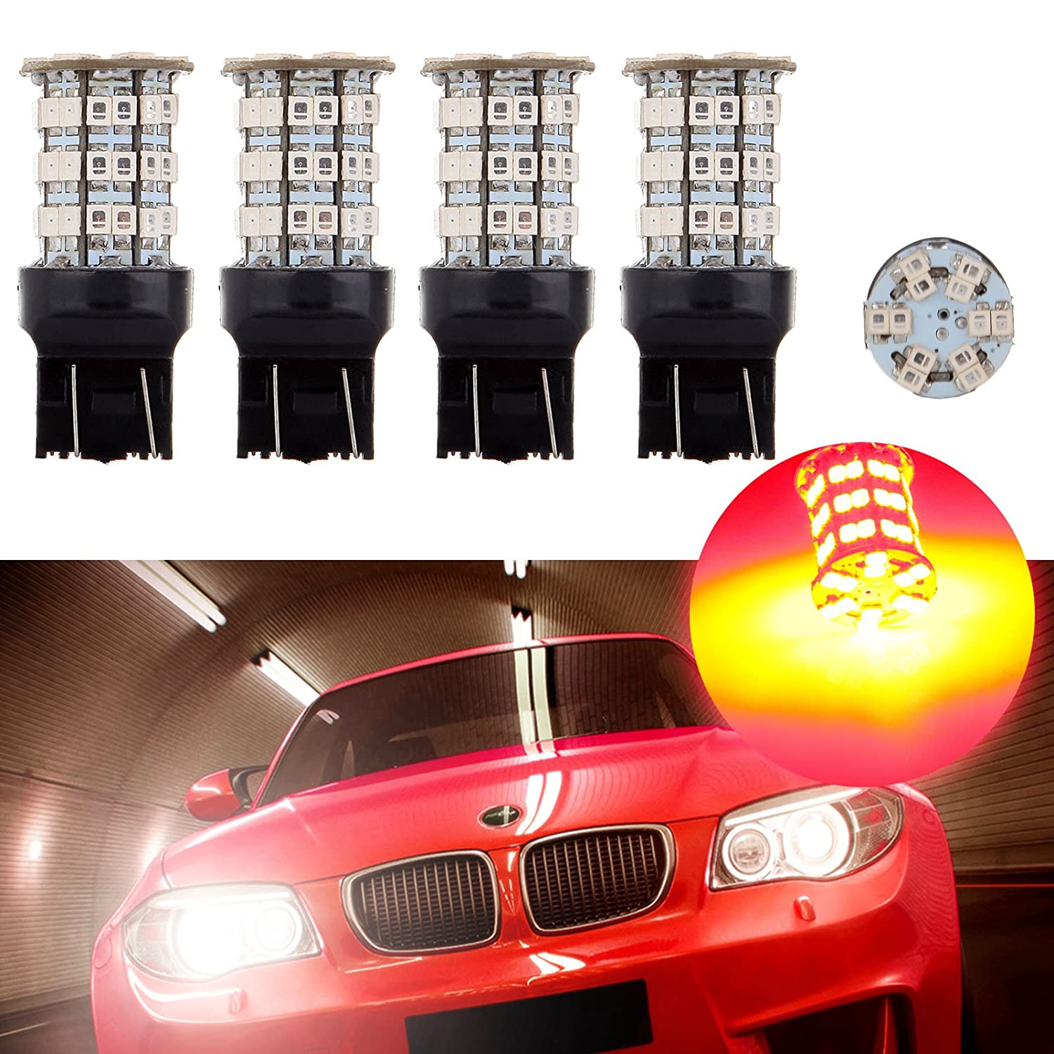 cciyu 4 Pack Red 6000K 40W 4000LM 7443 7444 7440 Cree LED 60 SMD Stock Bulb Stop Light US