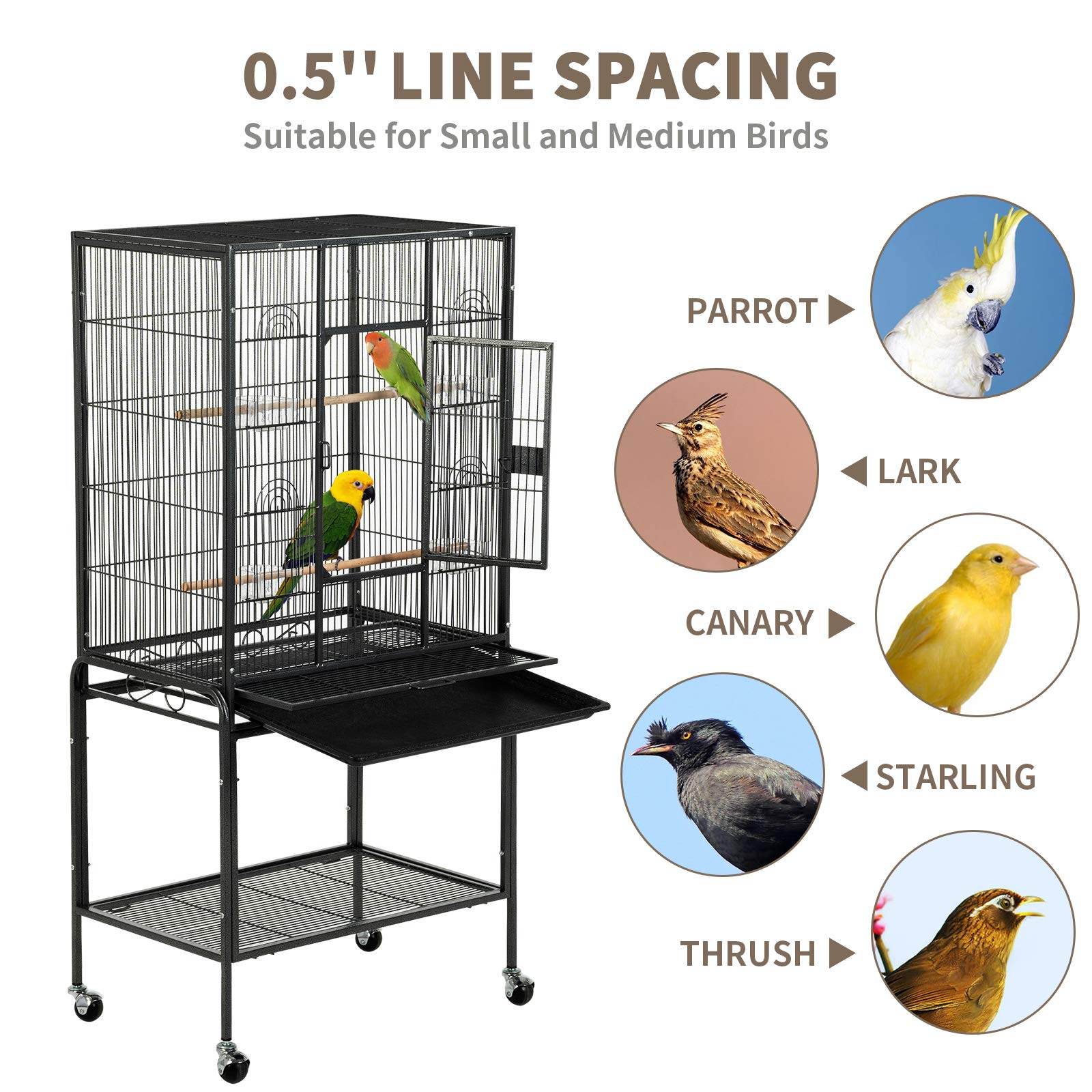 SUNCOO 53 in Large Flight Cage with Detachable Stand,Wrought Iron Heavy Duty Bird Cage for Parrot Budgie Parakeet Cockatoo Wooden Perch Storage Shelf Rolling Wheels, Big Metal Bird Aviary Cage Black by SUNCOO