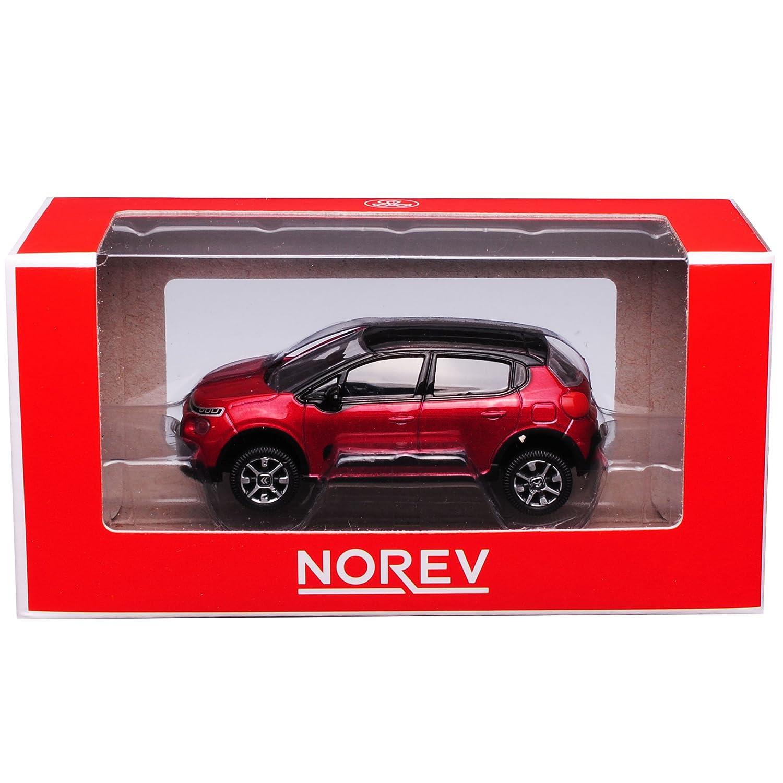 Norev Citroen C3 Rot mit Schwarzem Dach 3 Generation Ab 2017 1//64 Modell Auto mit individiuellem Wunschkennzeichen