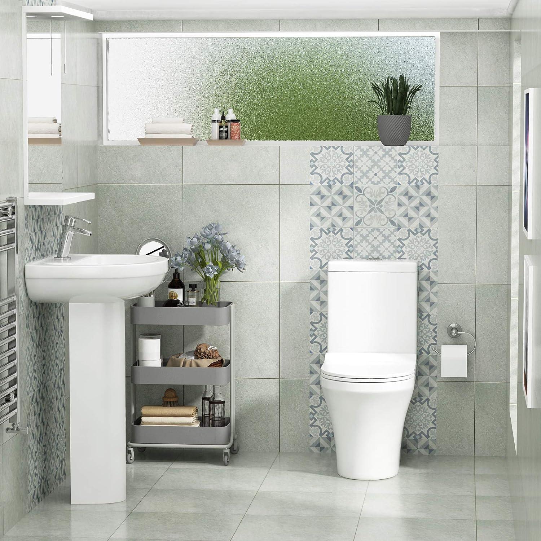 Bathroom Suite 500mm Full Pedestal Basin Ceramic Slim Seat Cistern Bathroom Suite Aqua Close Coupled Toilet