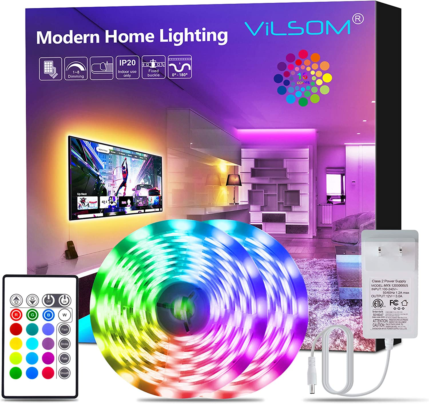 Led Strip Lights, ViLSOM 32.8 Feet RGB Led Light Strip with Remote and 12V Power Supply, SMD 5050 Led Lights for Bedroom, Room, TV, Kitchen and Home Decoration Bias Lighting, 2 Rolls of 16.4 Feet