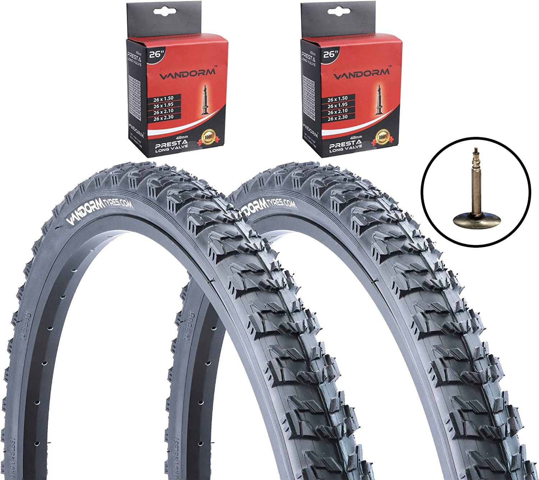 2 x Tyres  26 x 1.95 Mountain MTB Off road Bike Bicycle Tyre 2 PRESTA Tubes