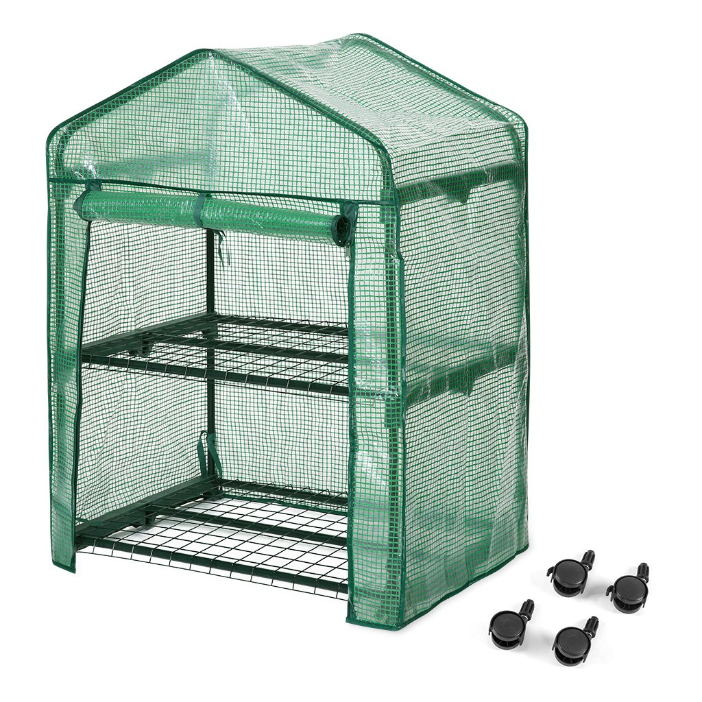 Finether 2-Tier Greenhouse with Clear Cover and Casters |Portable Garden House/Gargen House for Indoor Outdoor Herb Flower Garden Balcony,27''x19''x38''