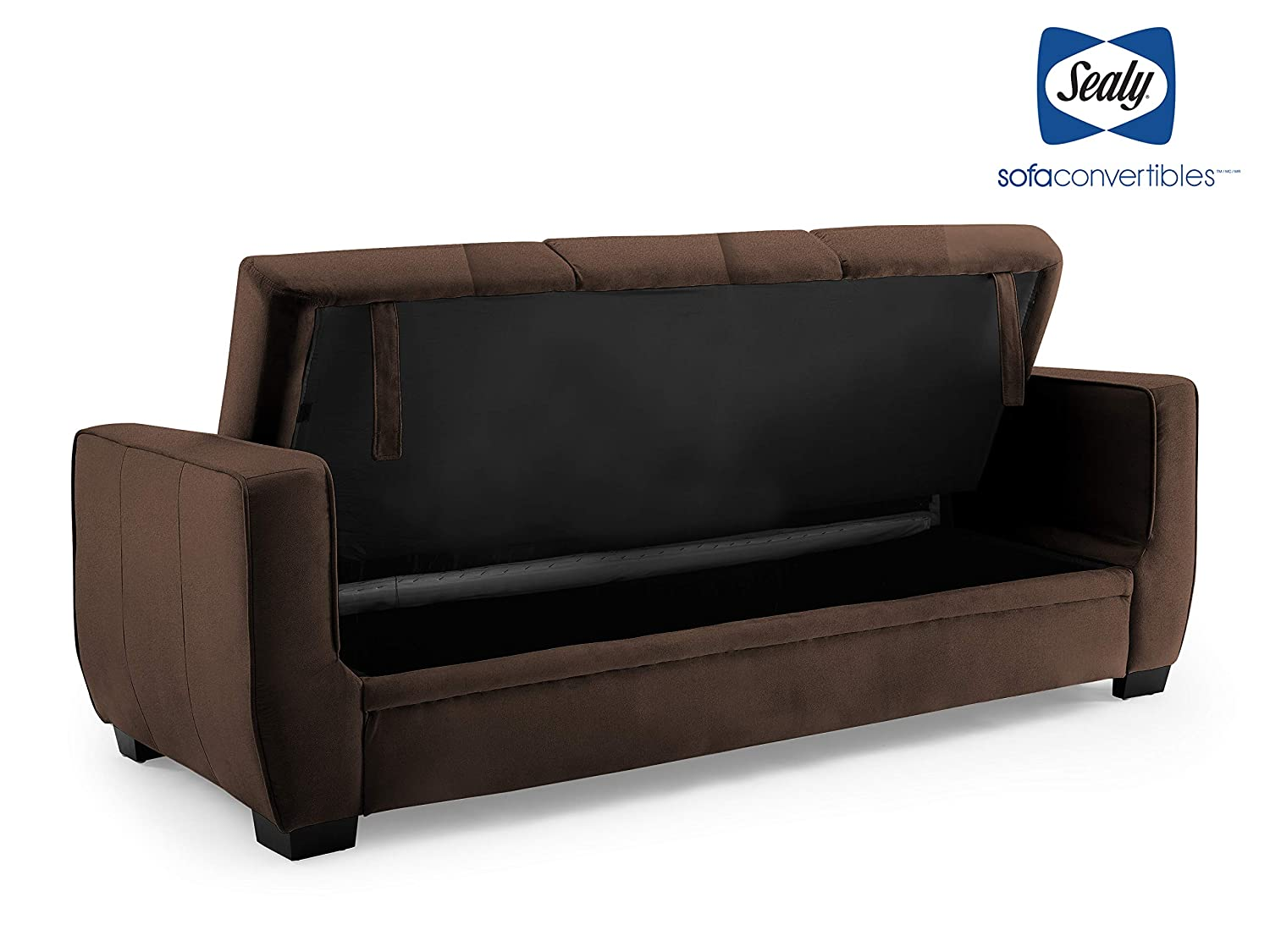 Sydney Pecan Sealy Perris Sofa Convertible with Storage by Sealy